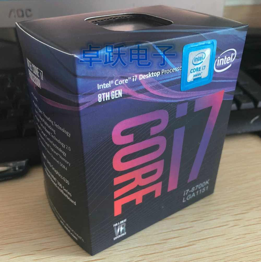 Intel Core 8 series Processor I7 8700K I7-8700K Boxed processor CPU +fan LGA 1151-land FC-LGA 14 Six Core cpu free shipping