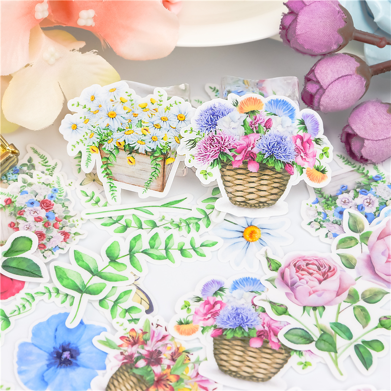 23pcs Cute Kawaii Watercolor Flower Basket Stickers Diary Sticker Scrapbook Decoration Stationery  DIY Stickers School Office