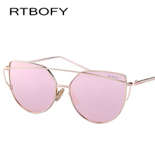 RTBOFY 2017  New Fashion Cat Eye Sunglasses Women Brand Designer Twin-Beam Mirror Lens Sun Glasses Rose Gold Metal Eyewear UV400