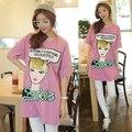 FSJ Beleza Personagem Barbie Letras Imprimir T-shirt de Algodão Vestido de Mulheres Plus Size Solto Casual T Camisas Vestidos de Boa Qualidade
