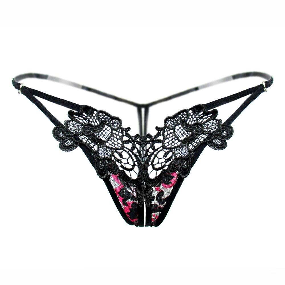 Women's Underwear Embroidery Flower Transparent Sexy Panties Temptation Low-waist Briefs Thongs Female Panties Open Crotch Thong