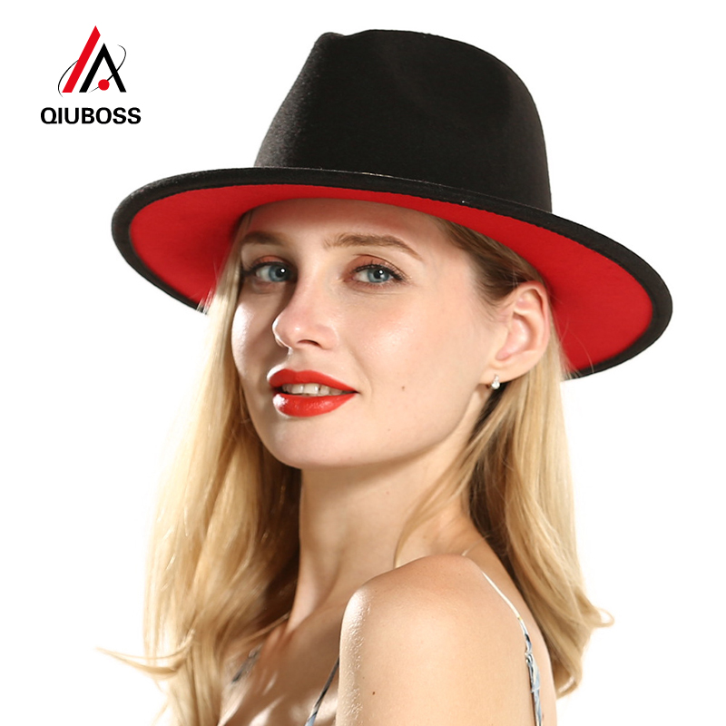 QIUBOSS Mens Women Black Red Patchwork Wool Felt Floppy Jazz Fedoras Hats With Ribbon Band Wide Brim Panama Trilby Formal Hat