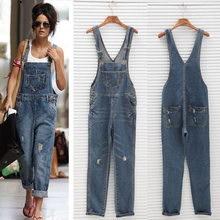 Women Overalls Denim Jumpsuit Bodysuit Summer Hole Ripped Ladies Bib Pant Pocket Retro Romper Boyfriend Jeans H45