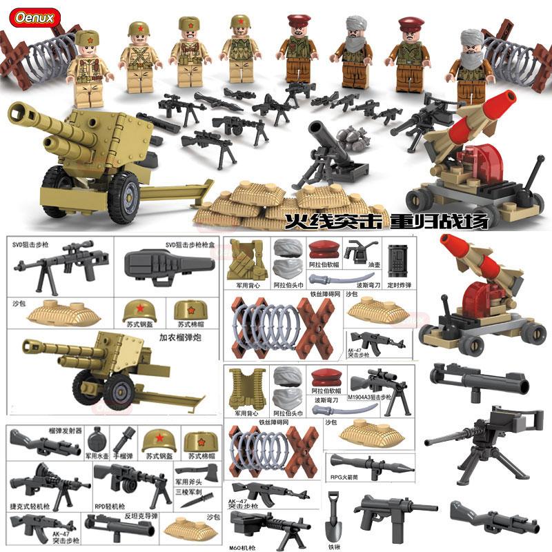 Oenux Neue Ankunft WW2 Sowjetischen Armee VS Nahen Osten Armee Militär Baustein Spielzeug Militärischen Soldaten Figur Gebäude Ziegel Spielzeug
