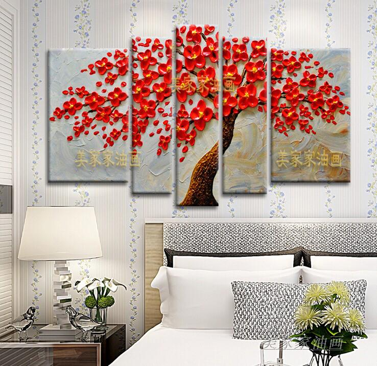 Hand painted thick knife oil painting big red flower tree on canvas modern home decor abstract wall art picture for living roomHand painted thick knife oil painting big red flower tree on canvas modern home decor abstract wall art picture for living room