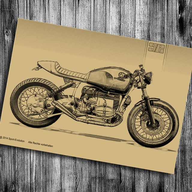 The Old motorcycle Chart Print photo Vintage poster Retro wall art ...