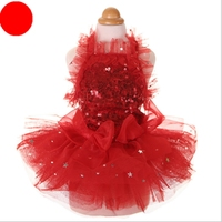 Sequins Lace Embroidered Dog Dress Princess Wedding Dresses For Dogs Dresses Red Pink Teddy Pet Tutu