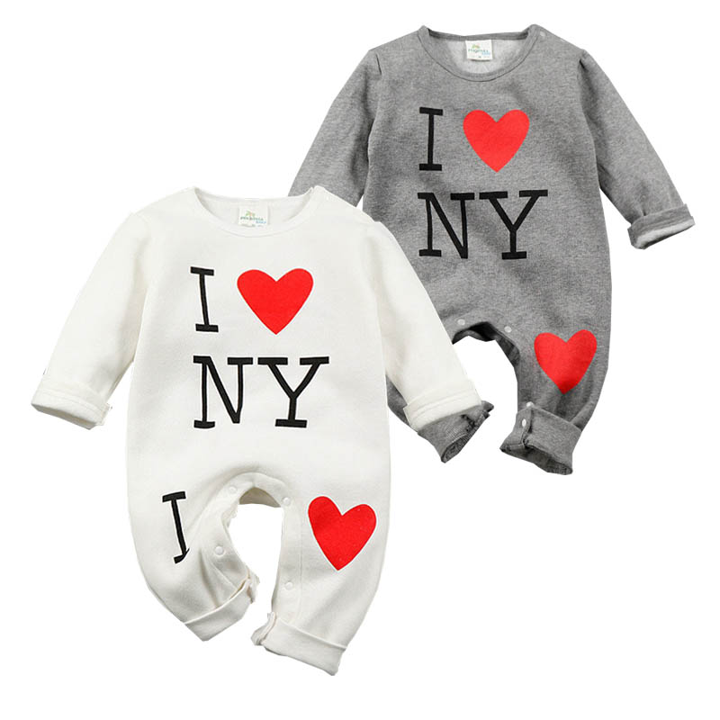 2016 Autumn Winter Romper For Baby Boy Girl Clothes Long Sleeve Cotton Warm Romper Valentine Heart Infant Toddler Clothing