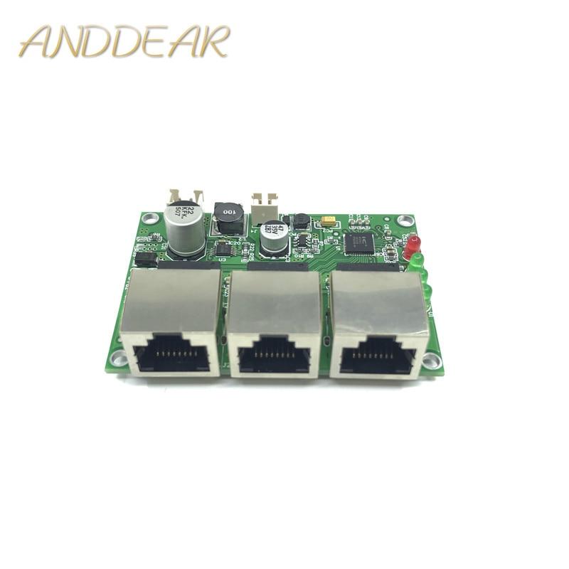 Qualité industrielle large température mini mini POE PD 10/100 Mbps 3-port low power distribution câblage interrupteur réseau module