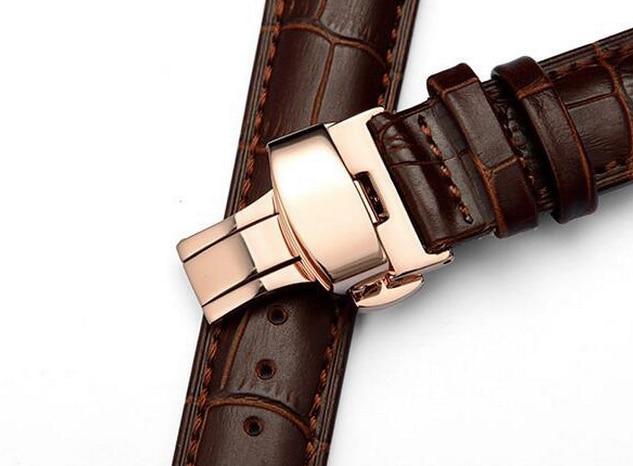 Läderurband Armband 16mm 18mm 20mm 22mm 24mm Rose Gold Butterfly - Tillbehör klockor - Foto 5