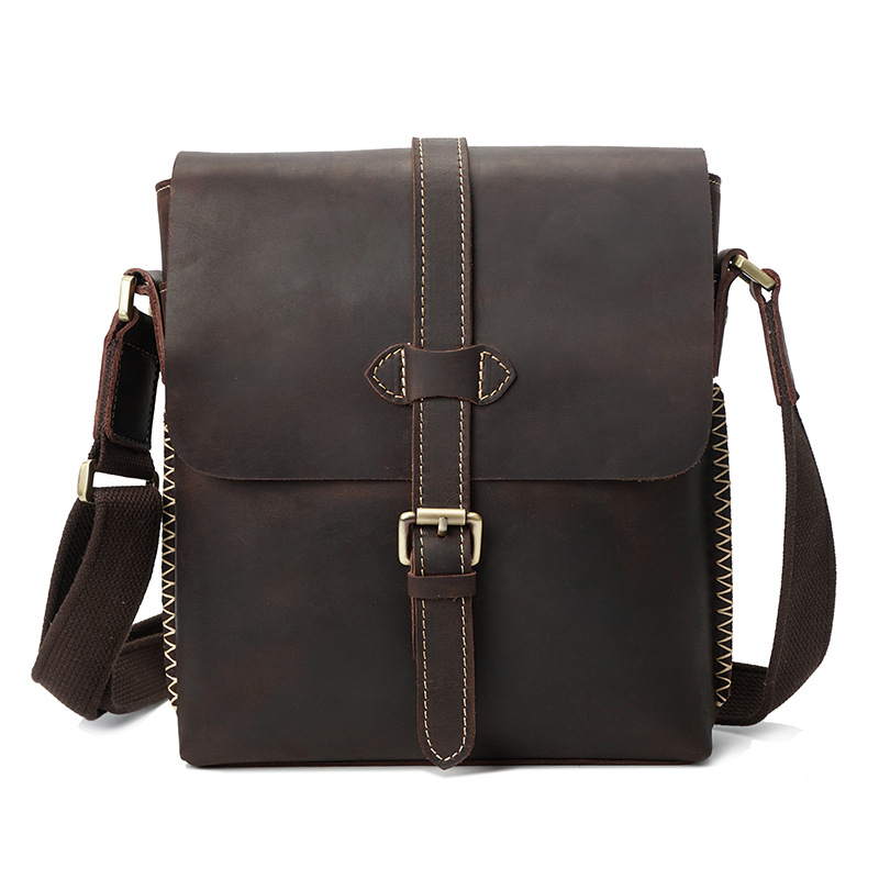 Vintage Crazy Horse Genuine Leather Men's Crossbody Handbag Shoulder Sling Bag Business Briefcase Portfolio For Male Man YD8086 neweekend 1005 vintage genuine leather crazy horse large 4 pockets camera crossbody briefcase handbag laptop ipad bag for man