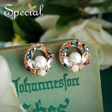 Special Fashion Pearls Stud Earrings Classic Crystal Ear Pins Chinese Style Jewelry 2018 New Gifts for Women S2731E