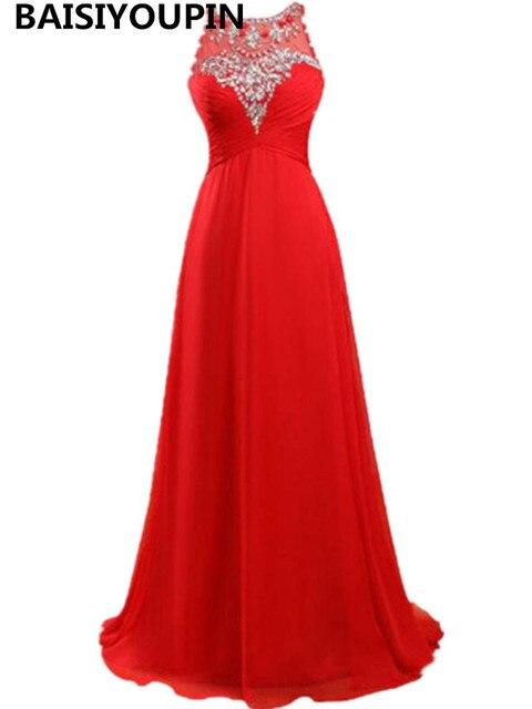 Cheap Red Prom Dresses 2016 Free Shipping Vestidos De Graduacion A Line Crystals Long Formal Evening Gowns Dresses