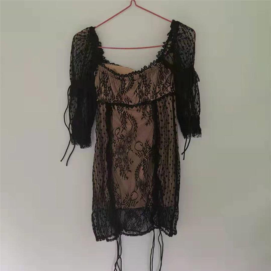 2019 New Women Fashion Sexy Dress Long Sleeve Embroidery Backless Holiday and Vocation Mini Dresshigh Quality Black Dress