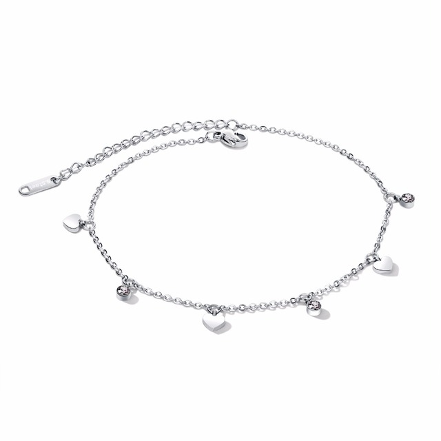 Women Ladies Anklets Bracelet Small Heart Charm Fashion Jewelry Simple Design GZ060
