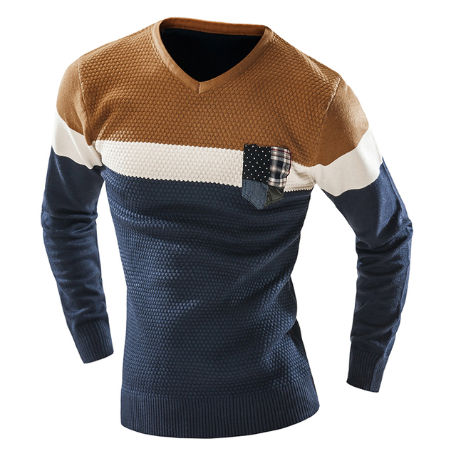 Men's Sweater V Neck Pullover Men Long Sleeve Basic Sweaters Casual Dress Brand Knitwear patchwork sweaters man Pull Homme