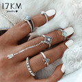 17KM 2016 Fashion 6 pcs/ set Vintage Beach Punk Arrow Ring Set Ethnic Carved Antique Silver Color Finger Ring Knuckle Charm