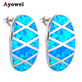 New arrival! Wholesale & Retail Fine Jewelry Blue Fire Opal stamp Silver Stud Earrings for women Fashion Jewelry OE324A