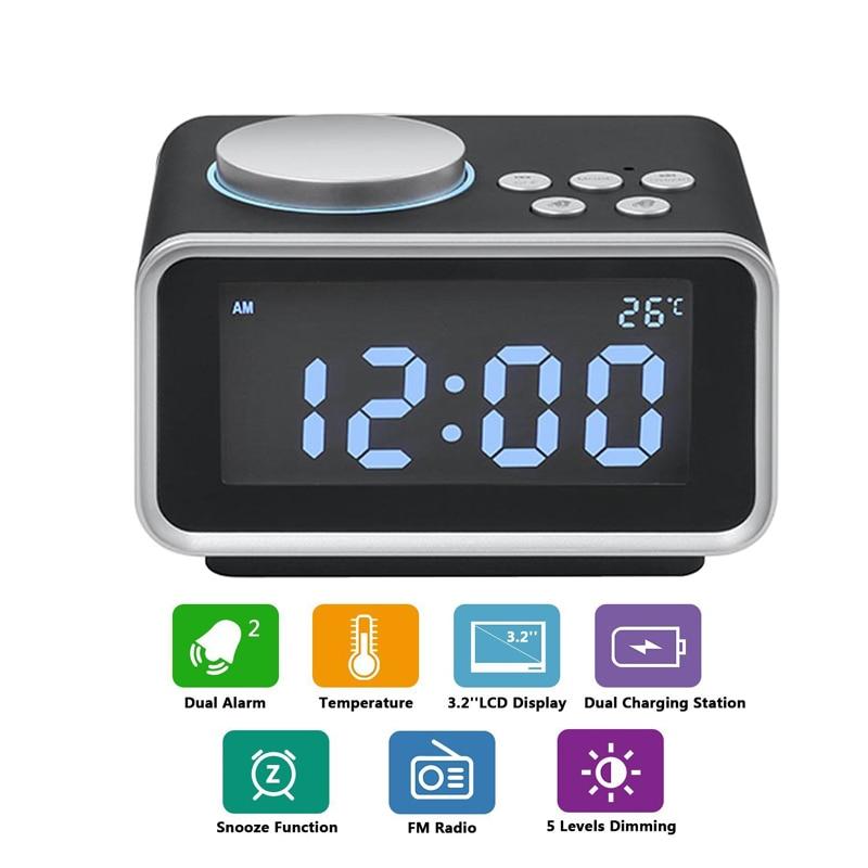1 Pz LED Digital Alarm Clock Radio FM Alarm Clock Forte per Traversine pesanti con Luminosità Dimmer Doppio Allarme 2 Porte USB di Ricarica