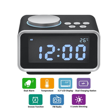1Pcs LED Digital Alarm Clock FM Radio Loud Alarm Clock for Heavy Sleepers with Brightness Dimmer Dual Alarm 2 USB Charging Ports