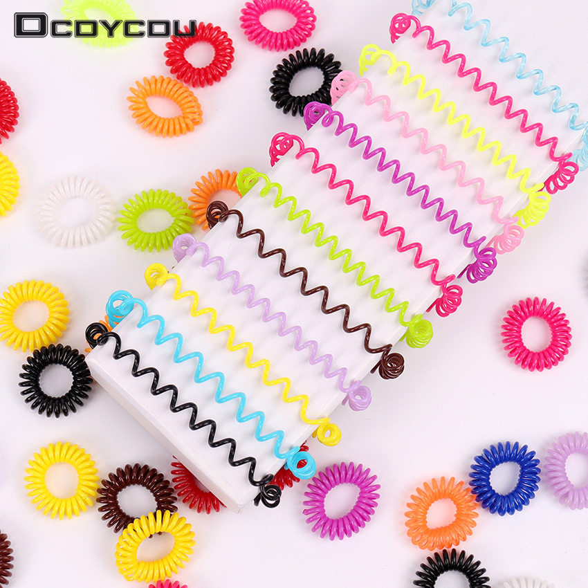 10PCS Candy Colored Telephone Line Hair Ring Spring Rubber Band Hair Band Tie Braids Bind Tool Hairstyle Hair Accessories