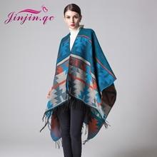 Jinjin.QC New Winter Scarves Cashmere Feel Scarf Women Poncho Boho Style Geometric Pattern  Fashionable Very Beautiful
