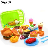 HziriP 35Pcs Set New Plastic Food Pizza Hamburgers Pretend Play Kitchen Toys Children Education Toy For