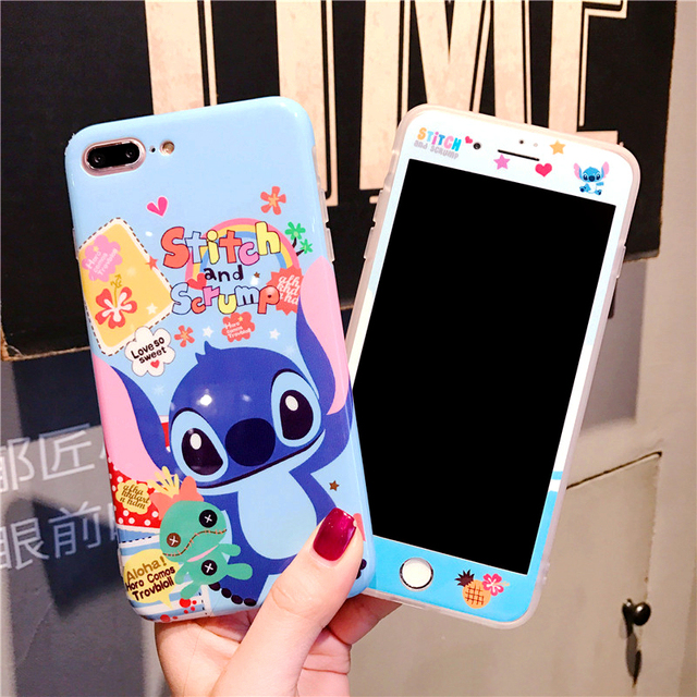 354f1904e3f Para iphone 7 7 plus dibujos animados Stitch funda de cerámica + Protector  de pantalla de