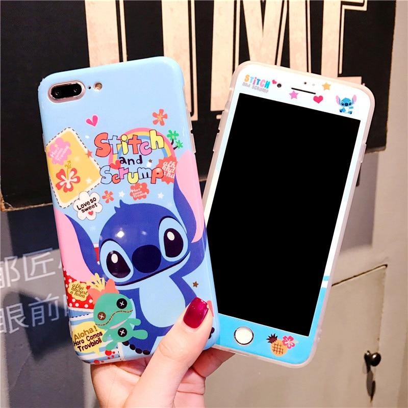 Pour iphone 7 7 plus cas de Point de Bande Dessinée Couvercle En Céramique + Trempé Écran en verre Protecteur Cas pour iPhone 8 8 plus 6 6 s 6 SPlus Fudas
