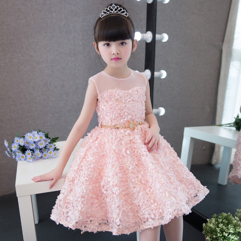 2017Korean Sweet Summer Girls Kids Fashion Flower Knee High Ball Gown Sleeveless Baby Children Clothes Birthday Party Dresses jioromy big girls dress 2017 summer fashion flower lace knee high ball gown sleeveless baby children clothes infant party dress