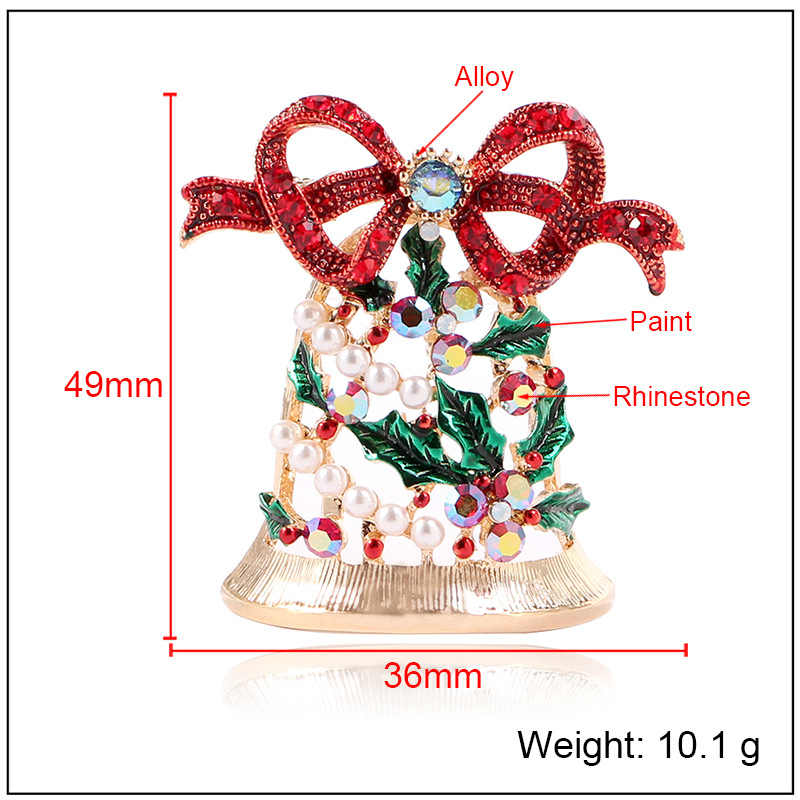 CINDY XIANG Shiny Rhinestone Bell Brooches for Women Creative Christmas Pins New Year Coat Dress Accessories Jewelry Sell Well