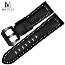 MAIKES Handmade 4 Color Watch Band Accessories Vintage Black Genuine Leather 22mm - 26mm Watchband Wrist Watch Strap Bracelets maikes watch accessories unchangeable color stable genuine leather 22mm 24mm 26mm watchband watch strap