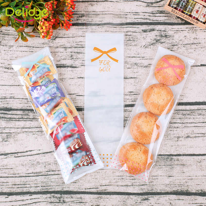 6 x 20cm Transparent Self-adhesive Seal Cookie Bag Long OPP Disposable Candy Packaging Accessory DIY Finger Biscuits Gift Squad