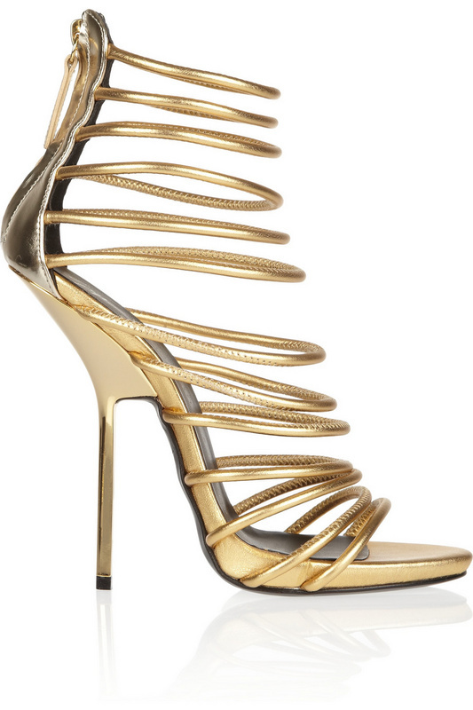 Online Shop Metallic Gold Strappy sandals summer high heel sandals ...