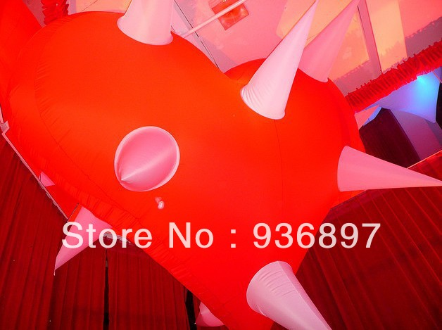 LED lighting red inflatable heart balloon for stage bar wedding party decoration with blower LED light