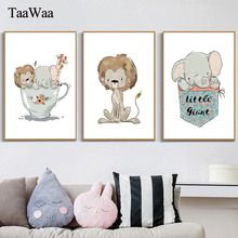 Tiger Elephant Wall Art  Nordic Nursery Posters And Prints Cartoon Baby Canvas Painting Pictures For Kids Room Home Decor