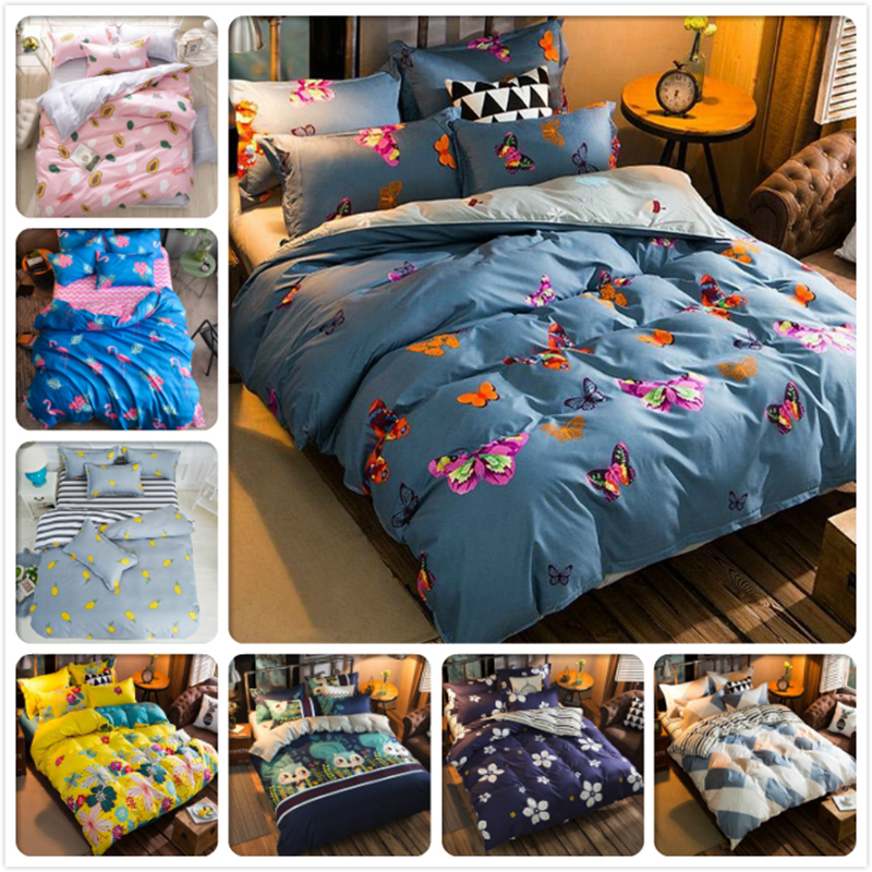 Butterfly Blue Gray AB Side Duvet Cover Full King Queen Twin Double Size 4pcs Bedding Set 1.5m 1.8m 2.0m 2.2m Bed Sheet Bedlinen