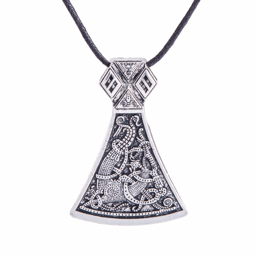 Dawapara Viking Axe Privjesak Ogrlice Nakit Mammen Goth Muški - Modni nakit - Foto 3