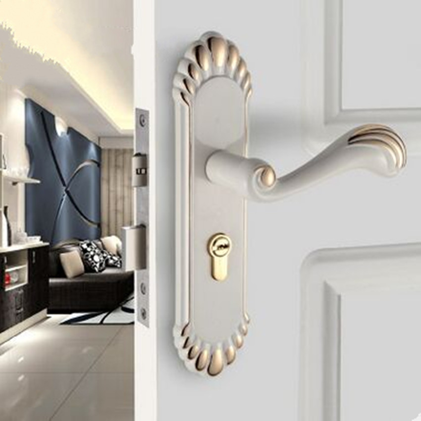 European vintage ivory white room door lock gold black - Door handles with locks for bedrooms ...