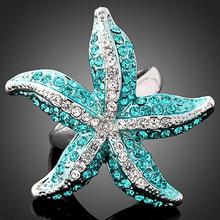 2016 Top Quality Hot Crystal Rhinestone 3D Starfish Statement Finger Ring Blue Whit 7G2G 7O1V