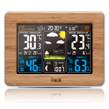 FanJu FJ3365 Weather Station Color Digital Forecast Clock Temperature Humidity Sensor Barometer Forecast Desk LED Alarm Clock