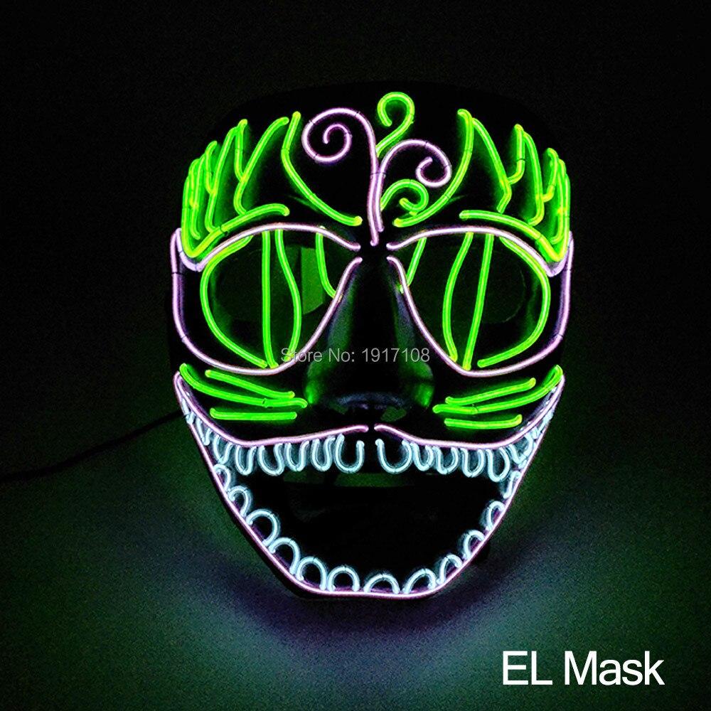 Nouveau design couleurs sélectionne EL masque pour Halloween et fête hurlante Led néon clignotant masque alimenté par DC-3V bricolage décoration