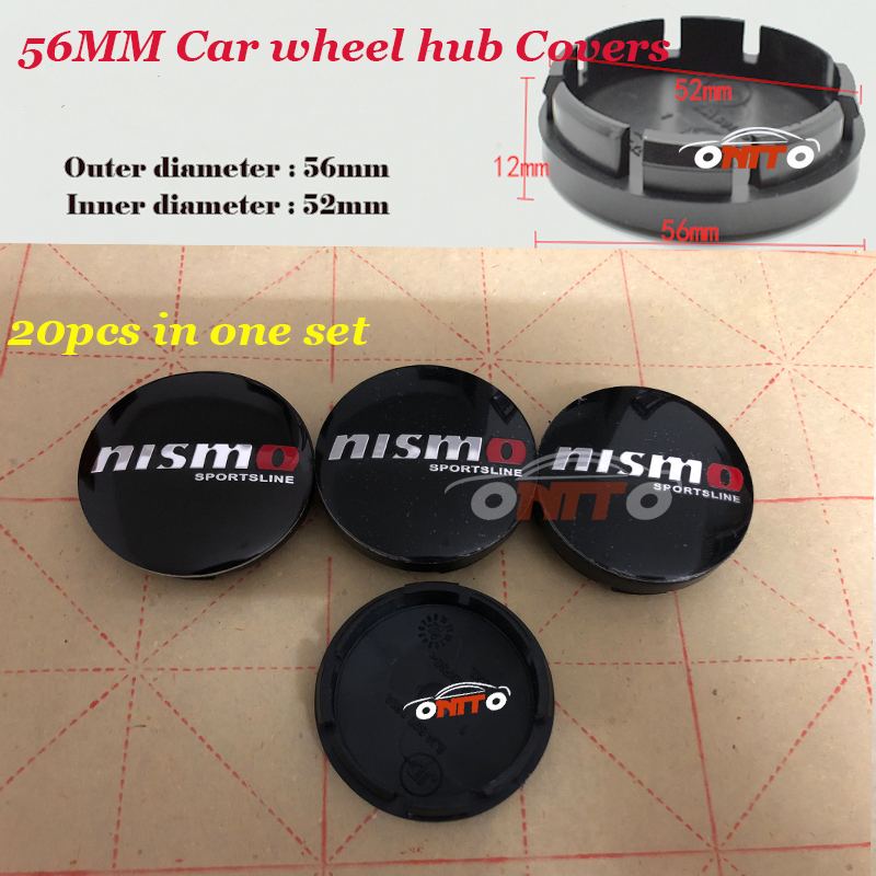 20pcs/set 56mm Car Emblem badge Wheel hub Caps logo badge For Nismo Teana Sylphy Qashqai Livina Tiida Cube auto center covers