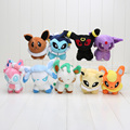 "9pcs/lot  6"" Q Version Pikachu Go Umbreon Sylveon Eevee Espeon Jolteon Vaporeon Flareon Glaceon Leafeon Plush Toys Stuffed Doll"