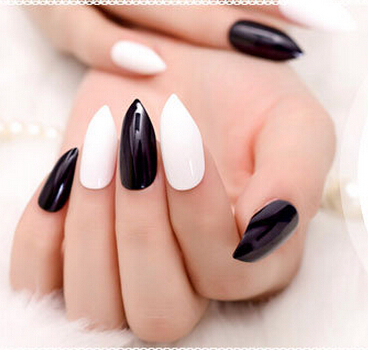 1bags/ lot -600pcs Stiletto full cover Clear Oval Cusp acrylic nail art tips