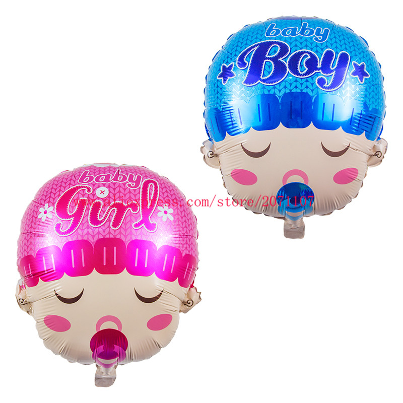 Lucky 50pcs lot 58 46cm Boy Girl Baby Head Balloon Baby Shower Foil Air Balloons For