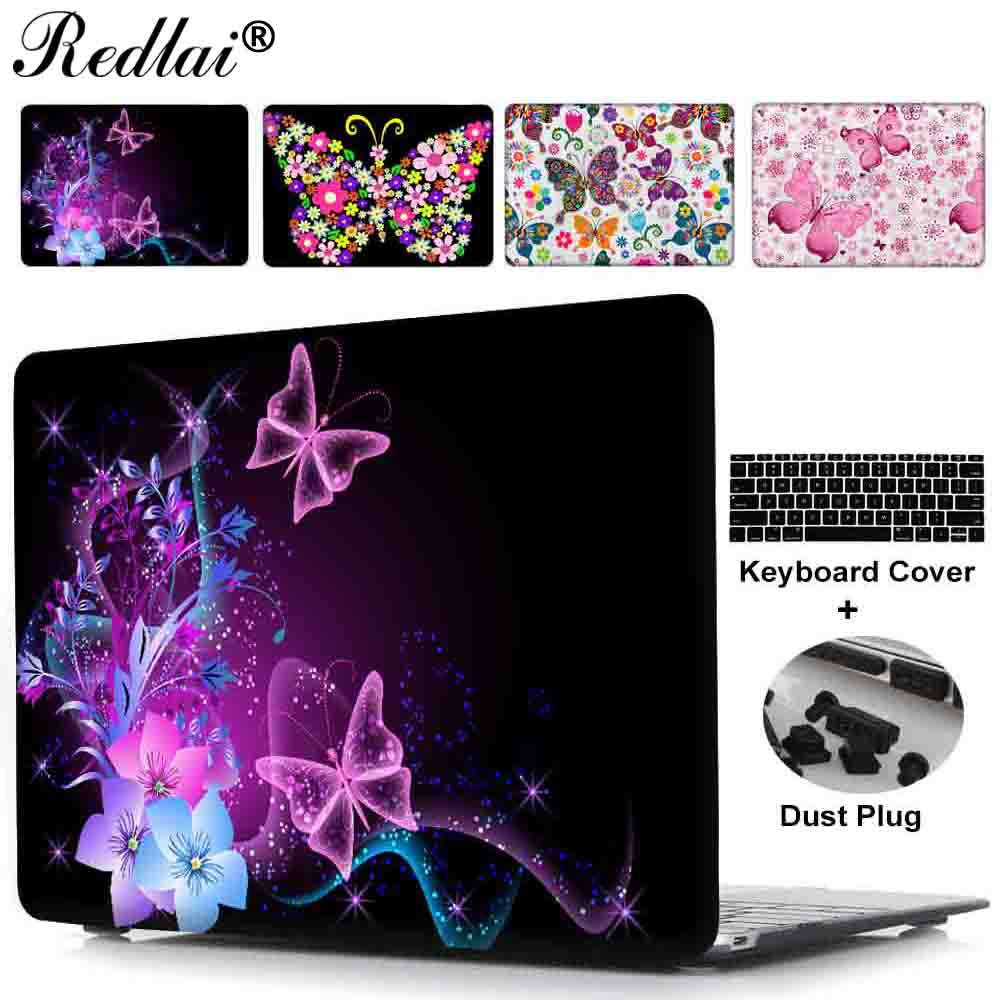Laotop Case For Macbook 12 inch Air 11 13 Flower Butterfly Pattern Printed Hard Case For Macbook Pro 13 15 Retina 2015 Model