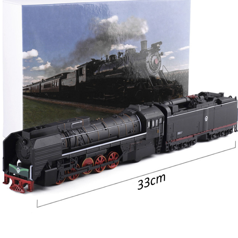 Diecast Toy Model/1:87 Scale/Class QJ2 No.0001 Gas power Locomotive Train/Pull Back/Sound & Light Car/Classical