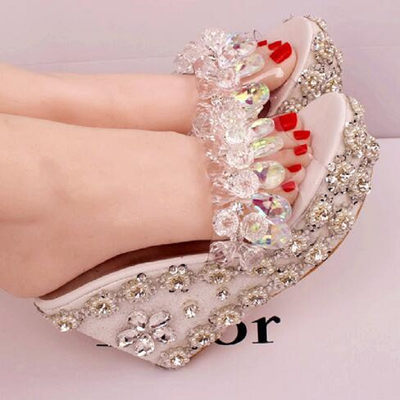 2019 New Mountain Crystal Straw Bottom Wedges High Heel Platform Slippers Handwork Rhinestone Women Summer Open