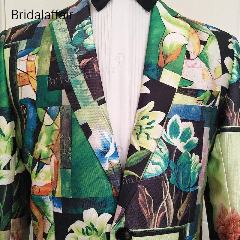 Erkek Kıyafeti'ten T. Elbise'de Gwenhwyfar Özel Yapılmış Erkek Takım Elbise Smokin Yeşil Çiçek Baskılı Blazer Slim Fit Düğün Erkek Takım Elbise Seti 2 Adet Ceket ve siyah Pantol'da  Grup 2